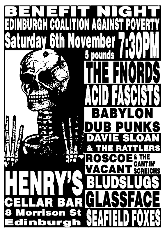 ECAP gig, Saturday 6th November, Henry's Cellar Bar