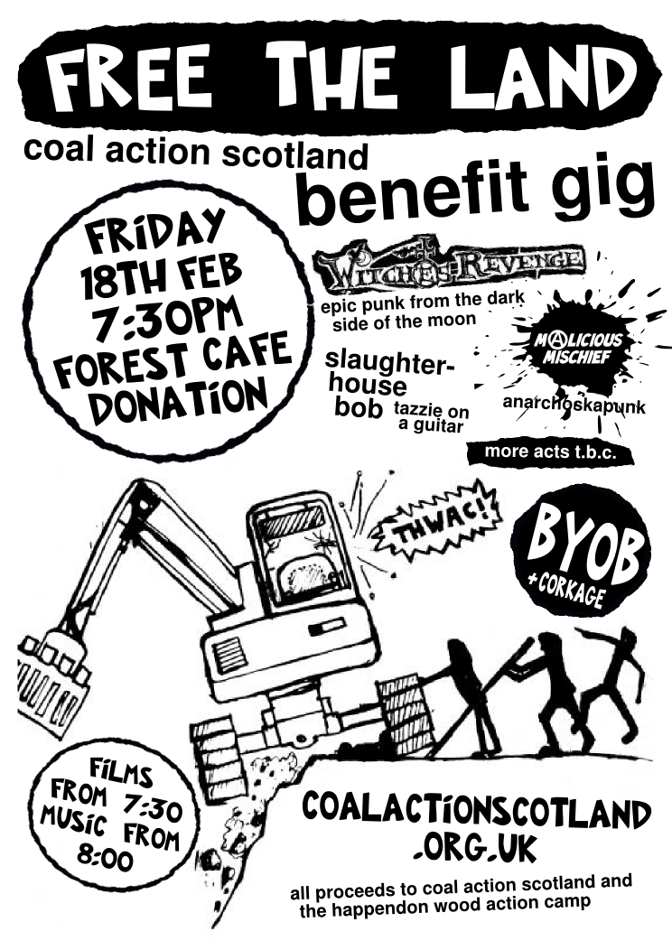 Poster for Coal Action benefit Friday 18th Feb, Forest Cafe