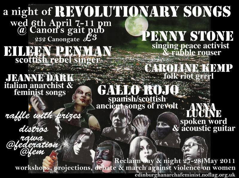 Flyer image, Night of Revolutionary Song, Canon's Gait, 6th April