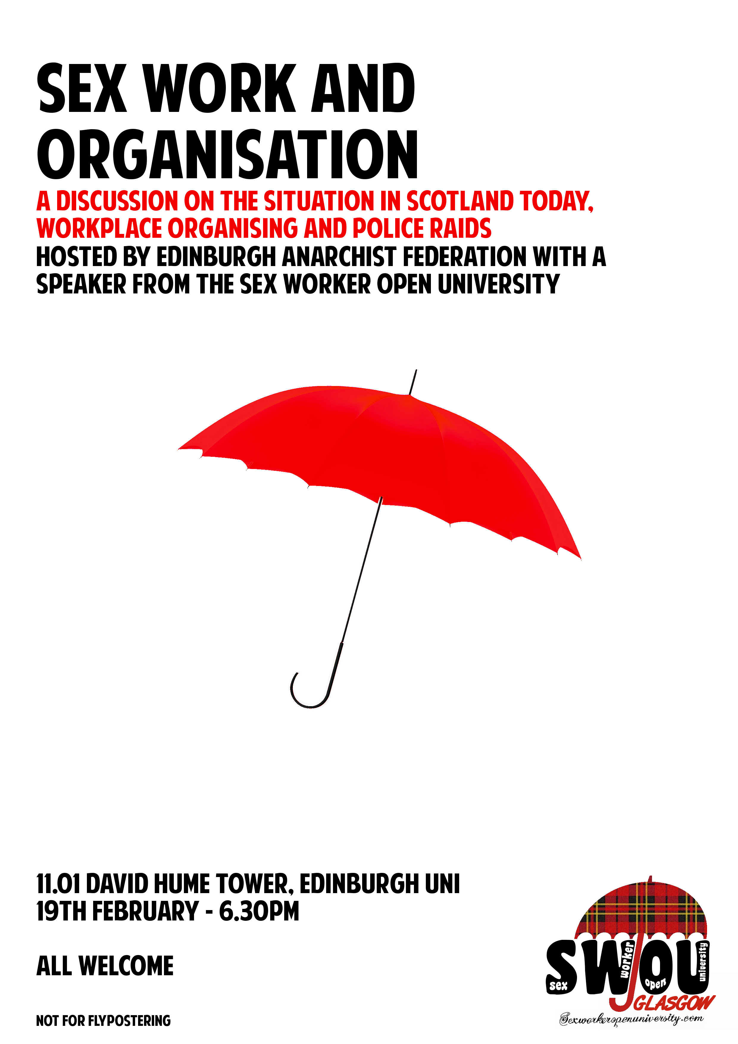 Event Poster - Location: 11.01 David Hume Tower. Time: 18:30 Wednesday 19th Feb